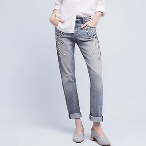 ANTHROPOLOGIE PILCRO HYPHEN BEJEWELED JEANS